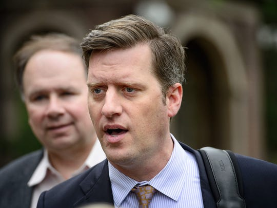 Minnesota House Speaker Kurt Daudt enters the governor's residence for budget negotiations in May in St. Paul. Behind him is House Ways and Means Committee Chairman Jim Knoblach, R-St. Cloud.