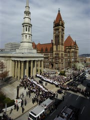 Bells will ring at 12:50 p.m. April 17 at St. Peter in Chains Cathedral across from Cincinnati's city hall.
