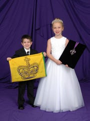 Royal Bearer of the King's Flag Master Jacob Aaron Vidrine and Royal Bearer of the King's Medallion  Miss Adeline Elise Vidrine, children of Michael and Rebecca Vidrine.