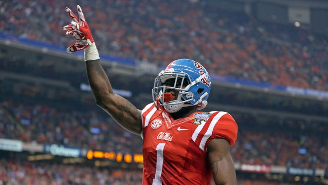 Mississippi wide receiver Laquon Treadwell celebrates a touchdown catch against Oklahoma State on Jan. 1, 2016.