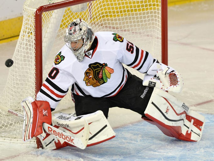 Chicago Blackhawks goalie Corey Crawford said he injured