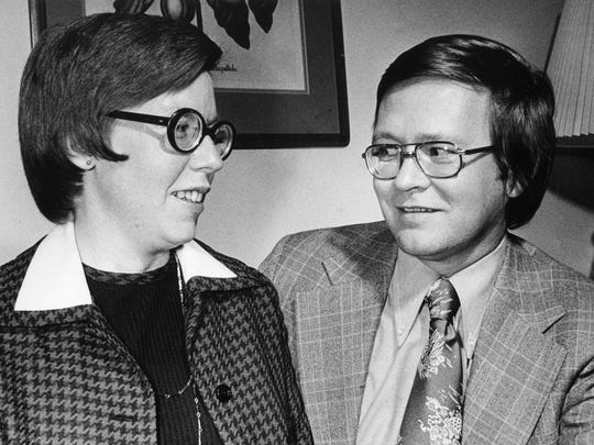 Judge Martha Daughtrey, newly appointed member of the Tennessee Court of Criminal Appeals, is congratulates after her swearing in by her husband, Larry Daughtrey, reporter for the Tennessean, Nov. 21, 1975.