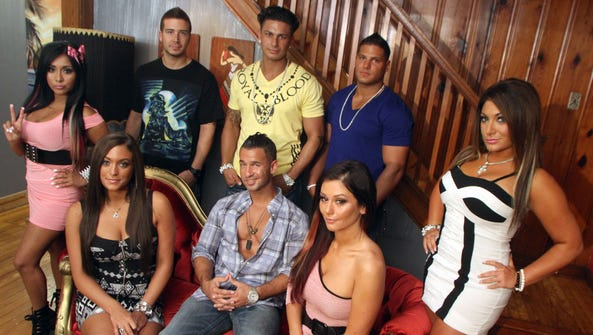 "Cast members of MTV's ""Jersey Shore"" get together for"