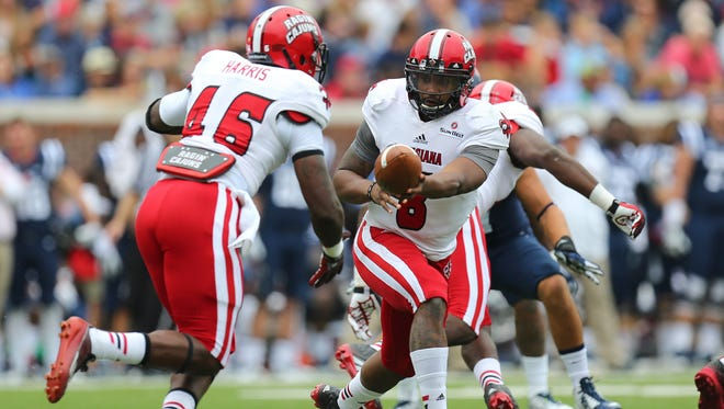 UL quarterback Terrance Broadway (8) and running back Alonzo Harris (46) are part  of a senior class that will go to four straight bowl games.