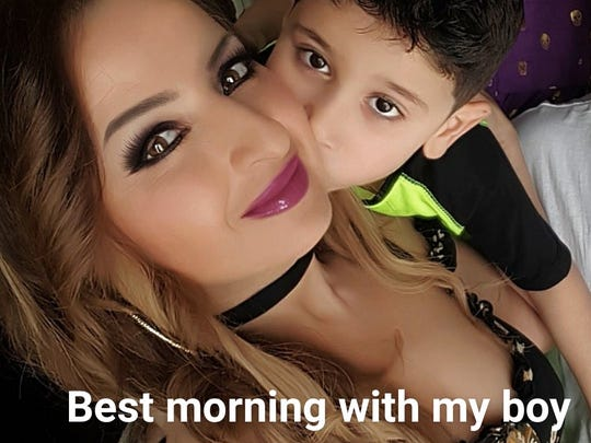 Houda Dannaoui and her 5-year-old son Abdul.