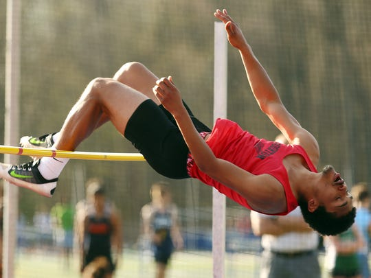Boonton's Lorenzo Lebrun during the high jump at the Morris County Relays at Randolph High School. May 2, 2018. Morristown, NJ