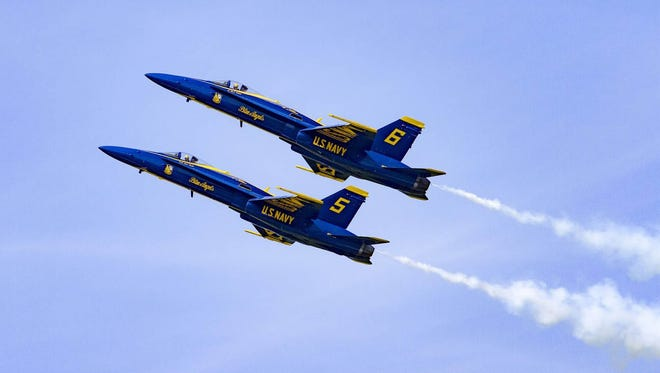 The Blue Angels 5 and 6 perform a High Alpha Pass at the 2014 Vero Beach Air Show