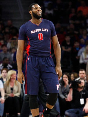 Detroit Pistons center Andre Drummond smiles on the court against the Charlotte Hornets on Sunday, April 12, 2015, at the Palace of Auburn Hills.