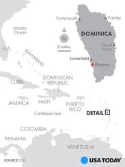 Map locates the island of Dominica.