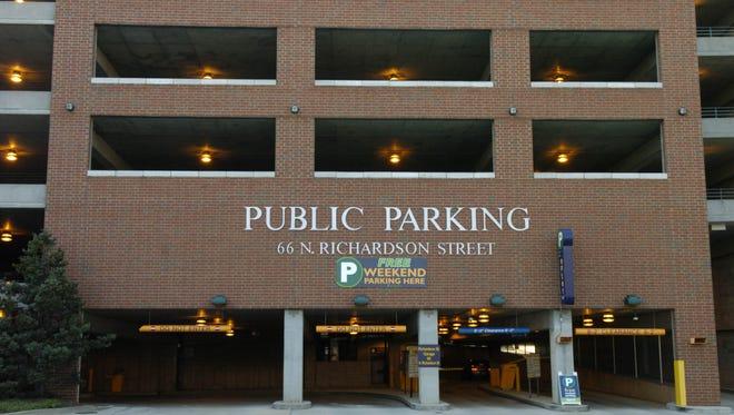 The entrance of the Richardson Street parking garage.