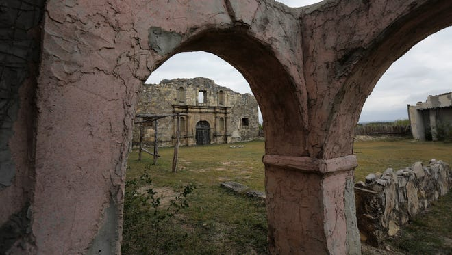 """The replica of the Alamo built in Bracketville, Texas, for John Wayne's 1960 movie """"The Alamo,"""" is crumbling."""
