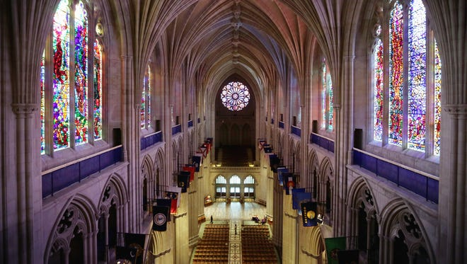 An interior shot of the Washington National Cathedral.