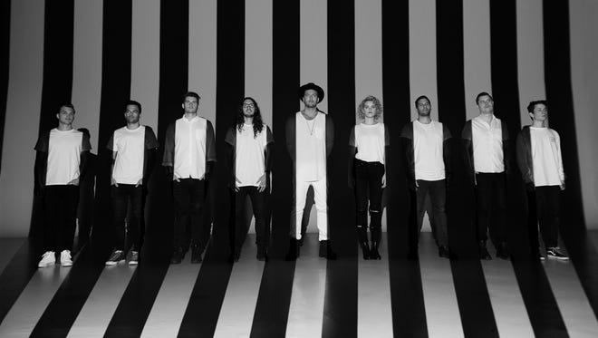 The members of Hillsong United, from left: Dylan Thomas, Simon Kobler, Matt Crocker, Jonathon Douglass (JD), Joel Houston, Taya Smith, Jad Gillies, Michael Guy Chislett and Benjamin Tennikoff