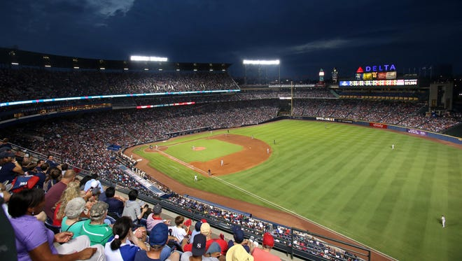 A general view from the upper desk as the Atlanta Braves play the New York Yankees at Turner Field.