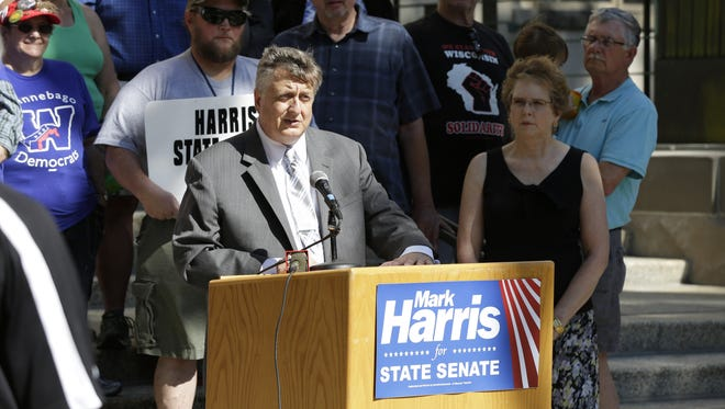 Winnebago County Executive Mark Harris announced his candidacy for the 18th Senate District on the steps of the Winnebago County Courthouse, September 16, 2015.  Harris is challenging Rick Gudex.