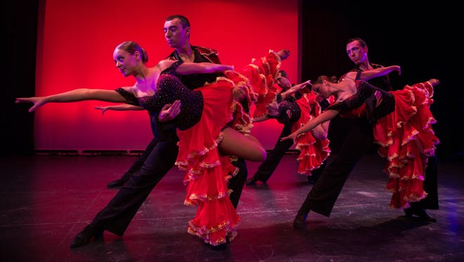 """Keizer native Seth Ward, from right, dances with Annalise Moss, Andrew Blackburne and Haley Wayt in the Corvallis-based Utah Ballroom Dance Company. Ward and other company members will perform excerpts from their award-winning show during """"Dancing with the Salem Stars."""" Ward has danced with the company for three years and is now the male soloist."""