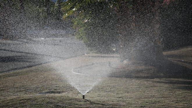 A sprinkler sprays a yard in Palm Springs.