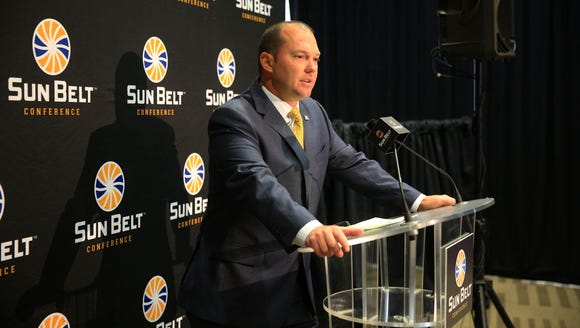 Georgia Southern coach Tyson Summers stands at the