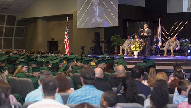 The Honorable Jay Dardenne, Commissioner of Louisiana Division of Administration addresses the 255 graduates of The Louisiana National Guard Youth Challenge Program at Gillis W. Long during the graduation ceremony held Saturday at Bethany Church South in Baton Rouge.