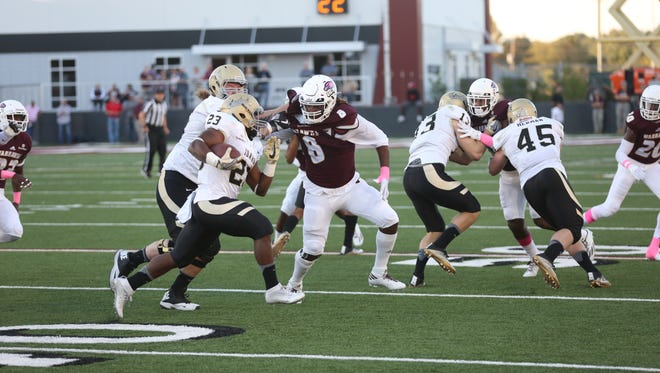 ULM defensive end Caleb Tucker (8) is one of only 10 seniors in the program. Only five players remain from ULM's 2013 signing class.