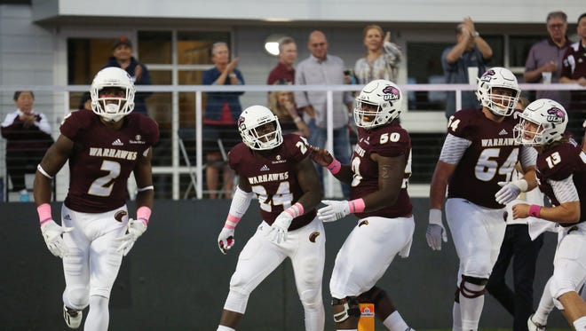 R.J. Turner (2) caught a 52-yard touchdown pass from Caleb Evans on ULM's first series in its 42-35 OT win over South Alabama. Turner leads the Warhawks with 421 receiving yards on the season.