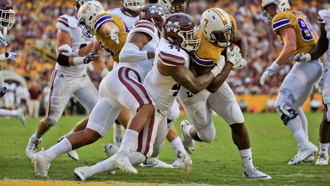 Mississippi State sophomore linebacker Leo Lewis (44) has been more vocal for the Bulldogs this season.