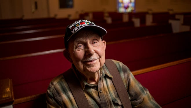 World War II veteran Orville Swick is pictured at Westminster Presbyterian Church in Port Huron. Swick, 93, died on Monday.