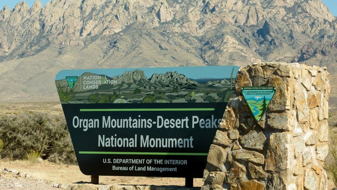 An Organ Mountain-Desert Peaks National Monument sign is seen along Dripping Springs Road on Tuesday, Jan. 31, 2017. A portion of the mountains would become federal wilderness under a bill that is awaiting consideration by President Donald Trump in early March 2019.