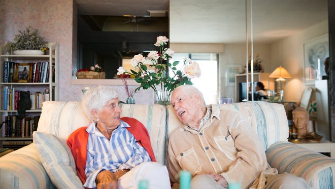 """Estella """"Lea"""" Crossett and her husband, Christopher Crossett, discuss their first date and the time when Christopher was away at war in their home in North Naples on Tuesday, February 21, 2017. The couple started dating before Christopher went off to war and they were married on November, 23, 1946."""