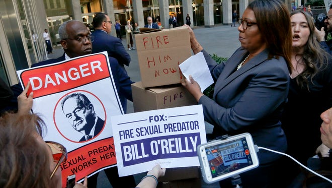 Protesters seeking Bill O'Reilly's firing rallied at Fox News headquarters Tuesday, one day before the cable network cut ties with the top-rated host.