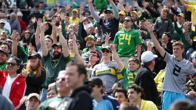 Fans cheer on Oregon during the Ducks spring game last year on Saturday, April 30, 2016, at Autzen Stadium in Eugene, Ore.
