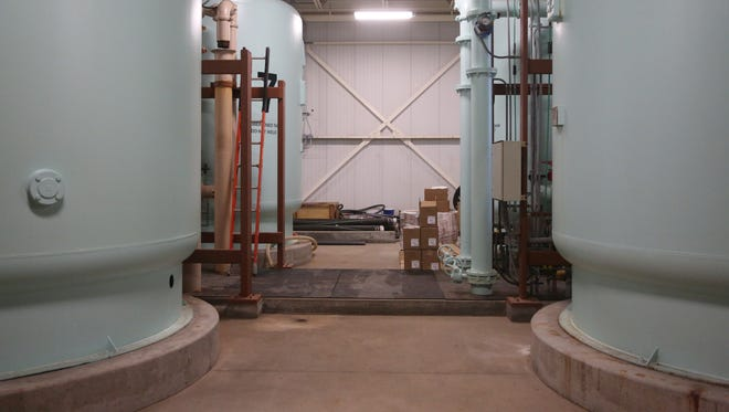 Inside the Des Moines Water Works nitrate removal facility at the fleur drive treatment plant on Thursday, May 4, 2017, in Des Moines. When it was built in the 1990s it was the largest facility of its kind, DMWW is now looking in to expanding the facility again. The facility can process 10 million gallons of water in 24 hours.