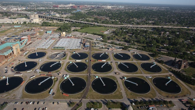 An aerial view of the waste water treatment plant in Detroit June 2012.