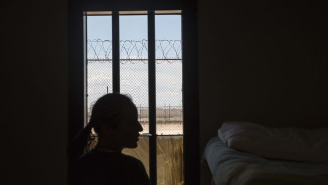 A female detainee at the Eloy Detention Center in July 2015.