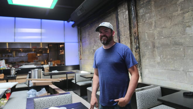 Chef Brad Greenhill inside the reconstructed dining room of his Corktown restaurant Katoi, which suffered extensive fire damage in February 2017. The restaurant is preparing for an August 28 re-opening.