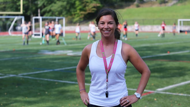 Amanda Grant, the new field hockey coach at White Plains High School, during practice Aug. 22, 2017 at Highlands Middle School in White Plains. Grant is a former Mamaroneck modified field hockey coach and a member of the Mamaroneck all state team.