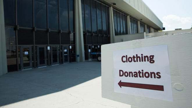 Two clothing Donation tables are currently set up in the Pan American Center at New Mexico State University Tuesday Aug. 29, 2017 and will continue on Wednesday. The clothing is being collected for the victims of tropical storm Harvey.