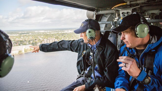 Gov. Rick Scott assessed Hurricane Irma's damage to Jacksonville on Sept. 12, 2017. The aerial tour included the governor, Adjutant General of Florida Maj. Gen. Michael Calhoun, Jacksonville Mayor Lenny Curry and members of the National Guard.