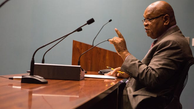 Former City Council President Theo Gregory explains to the Wilmington City Council Finance and Economic Development Committee the intended uses of a $35,000 grant request for his nonprofit, Student Disabilities Advocate.