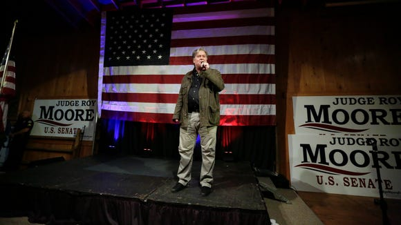 In this Monday, Sept. 25, 2017 file photo, former White House strategist Steve Bannon speaks at a rally for U.S. Senate hopeful Roy Moore in Fairhope, Ala.