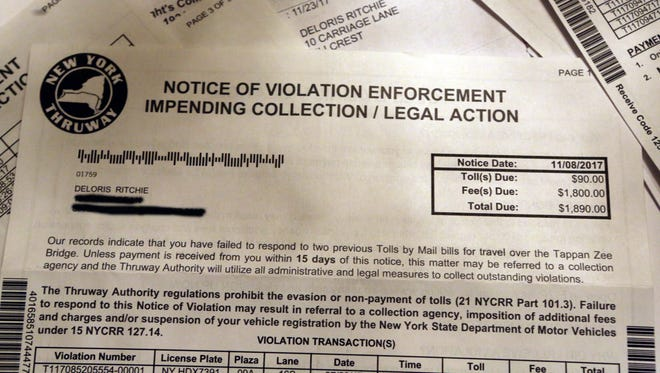 Tolls by Mail bills with late fees received by Deloris Ritchie of Hillcrest. Ritchie received $12,000 in late fees for tolls injured for traveling across the Tappan Zee Bridge. Last November, she was pulled over by police and her car was impounded for a suspended registration due to the fees. A judge eventually dropped any charges relating to the unpaid fees after it was proven that she had paid her Tolls by Mail bills.