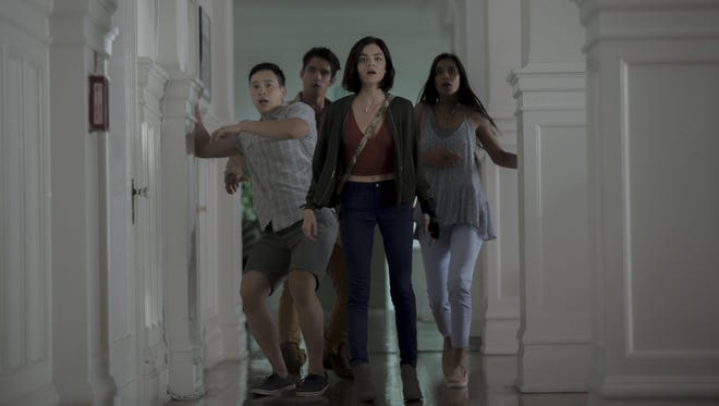 """Hayden Szeto, left, Tyler Posey, Lucy Hall, and Sophia Taylor Ali star in """"Truth or Dare,"""" a supernatural thriller."""