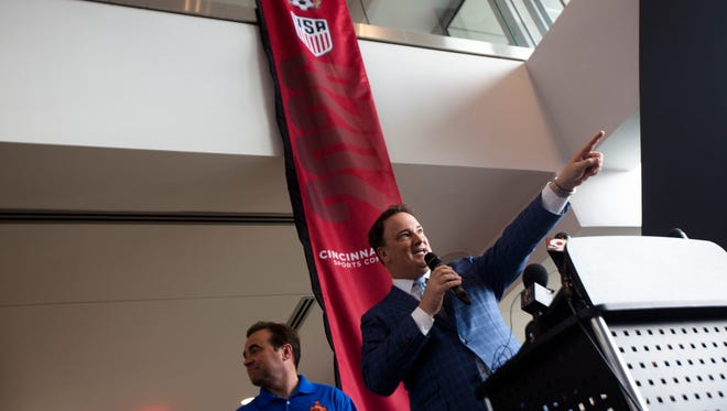 Jeff Berding, FC Cincinnati president and Cincinnati local organizing committee co-chair, speaks during a press conference Wednesday, June 13, 2018, in Cincinnati before the FC Cincinnati match about Cincinnati's bid to host the World Cup 2026.