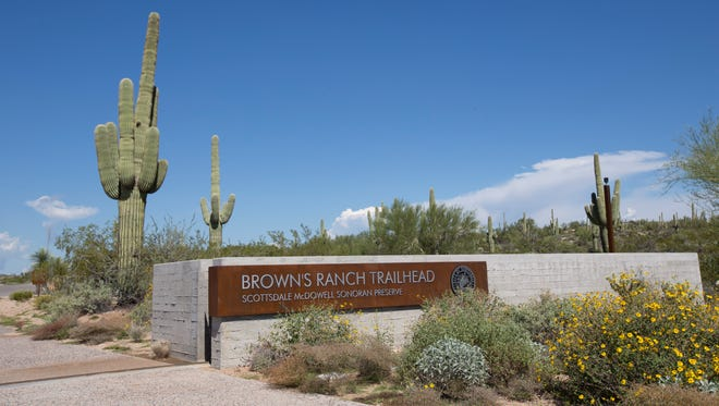 The sign for Brown's Ranch Trailhead in Scottsdale on  Oct. 11, 2014.