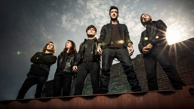 Of Mice & Men, from left: Alan Ashby, Philip Manansala, Aaron Pauley, Austin Carlile and Valentino Arteaga.