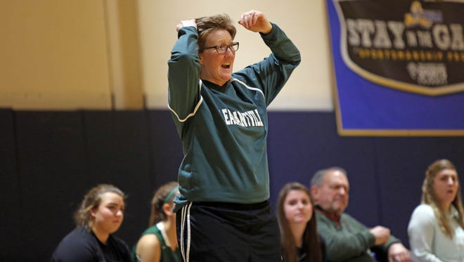 Pleasantville coach Myndi Hill reacts to a play during a girls basketball game last month at Briarcliff.