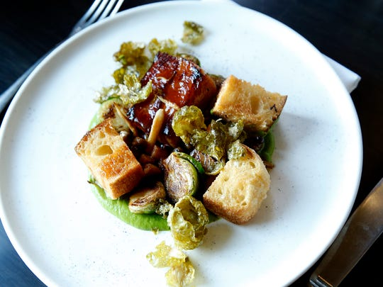 "Roasted Brussels sprouts, beef belly ""bacon"" with English"