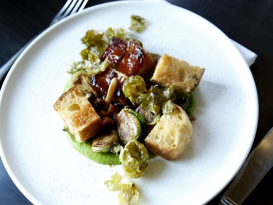 "Roasted brussel sprouts, beef belly ""bacon"" with English"