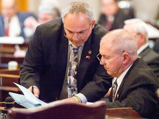 State Rep. Tim Wirgau (left ,pictured with Rep. John Forgety, R-Athens) was booted from the Tennessee General Assembly in Thursday's primary.