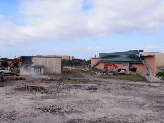 Demolition begins on the English building at Del Mar